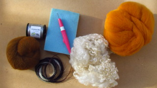 The start of a camel (needlefelting kit) and some wools!