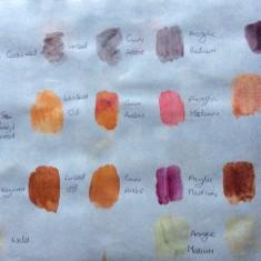 Dye samples on Japanese Paper