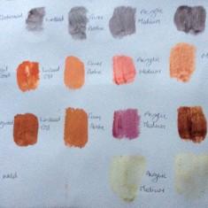 Dye samples on Watercolour Paper
