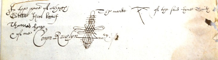 This will is dated 1602 and is that of Joan Smith of St Albans, although she could not write and has left her mark, one of her witnesses has a very elaborate signature. She was a widow with no occupation.     ref. 43AW25 | Hertfordshire Archives and Local Studies