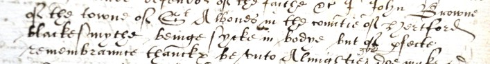 The will of John Brown. Dated 1591, John came from St Albans. He chose to make his mark as a symbol of his occupation, he was a Blacksmith, as can be seen in the text above.     ref. 32AW4 | Hertfordshire Archives and Local Studies
