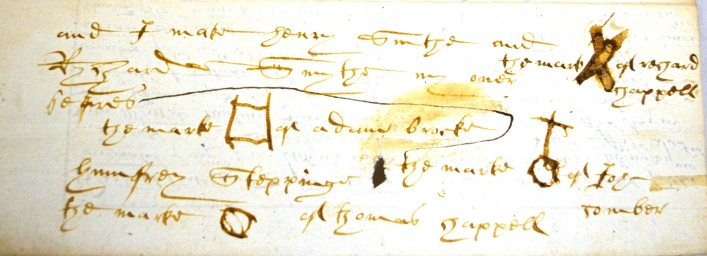Here we can see lots of little drawings or marks which belongs to the Will of John Comber of St Peter's, St Albans and is dated 1600.     ref.41AW7 | Hertfordshire Archives and Local Studies