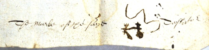 John Smyth's mark looks like two people holding hands. He came from Park Street, St Stephens, St Albans, his occupation is not known. This Will is dated 1600     ref. 41AW26 | Hertfordshire Archives and Local Studies