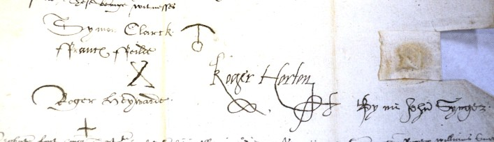 John Synger, a Clerk Parson of Bushey, 1591, he could sign his name as you can see on the right, but some interesting 'signatures' of the witnesses. 25AW12 | Hertfordshire Archives and Local Studies