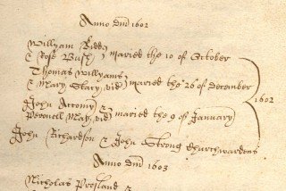 John Accomy's marriage record | Hertfordshire Archives and Local Studies. Ref: DP43.1.1