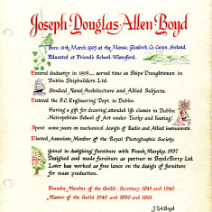 Joseph Boyd's page of the Welwyn Craftworkers Guild Book | HALS