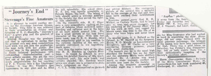 An undated review of the play, presumably from the local newspaper | By V Richards