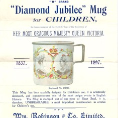 Poster advertising a children's mug to mark the Diamond Jubilee of Queen Victoria in 1897 | Hertfordshire Archives & Local Studies