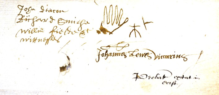 The best one is from the will of James Chappell, 1577. His occupation is that of Husbandman and one of his witnesses drew a hand. This signature appeared again in another will in the same bundle. 18AW4 | Hertfordshire Archives and Local Studies