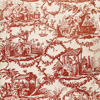 Toile de Jouy, Copper plate printing on coton, Oberkampf factory in Jouy, 1785 France | https://www.musee-impression.com