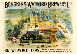 Postcard depicting Benskin's Watford Brewery | Hertfordshire Archives and Local Studies, LRR Collection