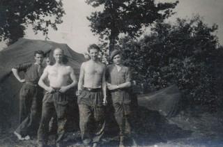 Unspectacular spade work   Leslie third from left