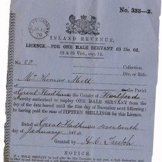 A licence to employ one male servant to Mr Thomas Mott of Great Hadham. Fifteen shillings in 1870 is worth over £50 today. | Hertfordshire Archives and Local Studies, Ref: D/ESr F10