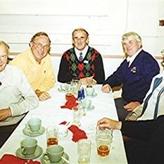 Left to right: John Hill, George Reading, John Luck, Bob Benn, Gordon Bartlett, Clifford Hill, John Saunders. | Geoff Webb