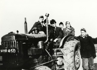 Hertfordshire Land Girls with a tractor | Local Studies Image Collection