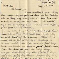 The letter of complaint from Abbie's mother, Mrs Andrews about her daughter quitting their service, 1930 | Hertfordshire Archives and Local Studies, Ref: D/ECh B131