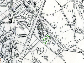 Maran Close prefabs (in green) from an OS map of 1960 | Map at Hertfordshire Archives & Local Studies