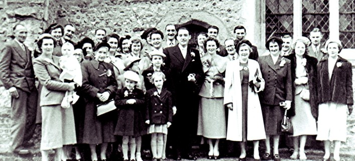 John and Jean outside St. Mary's Church with the wedding guests | Geoff Webb