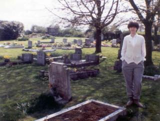 Me, in intrepid ghost hunting gear complete with Avengers 'Purdy' hairstyle (it was very trendy in the early 80s, honest!), Datchworth Churchyard 1982