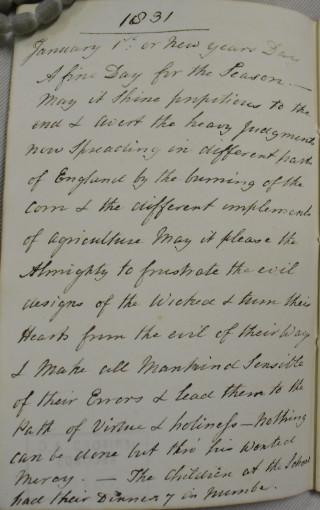 Mrs. Arrowsmith's diary entry for 1st January 1831