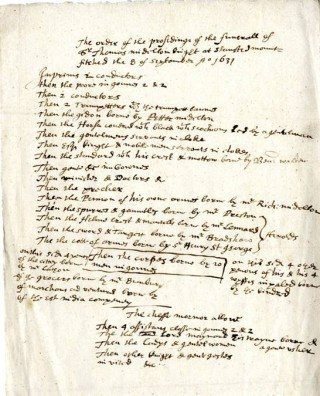 Funeral account showing the order of the funeral procession | Hertfordshire Archives and Local Studies