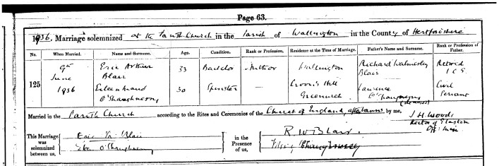 Marriage certificate for Eric Blair and Eileen O'Shaughnessy | Hertfordshire Country Archives