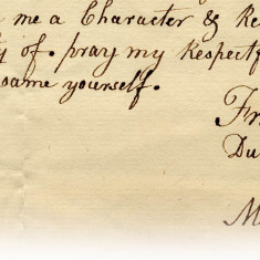 Here is another extract from a letter to Lord and Lady Cowper from their governess, Mary Green regarding her unfair dismissal. She begs to know what she has done and hopes for a good reference, 1782 | Hertfordshire Archives and Local Studies, Ref: D/EP F310/52