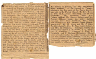 Newspaper Report Death of George Coburn | Coburn Collection