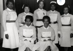 Group of nine student nurses, all unknown