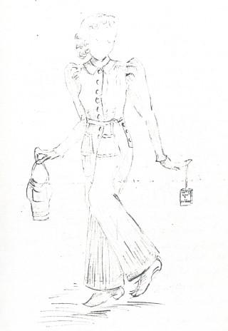 Olive's sketch of her 'siren suit'
