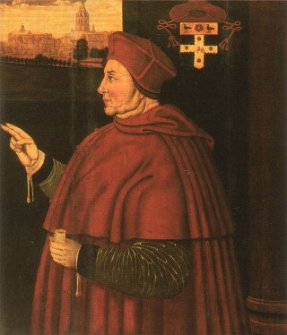 A photo of Sampson Strong's portrait of Cardinal Wolsey at Christ Church 1526