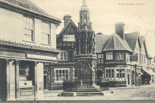 Eleanor Cross & the town centre, undated | Hertfordshire Archives & Local Studies