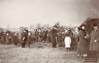 Early Garden City residents, including Ebenezer Howard, planting trees, Arbor Day 8th March 1913 | First Garden City Heritage Museum