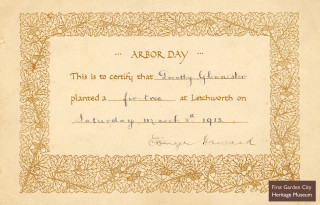 Certificate for participating in Arbor Day, 1913 | First Garden City Heritage Museum
