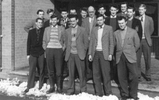 First year HND students 1958.   Back row l. to r.:- B.Easton, D.Firth, D.Aldridge, A.Tyler, D.Chambers, Mr.R.Page (Tutor), P.Reilly, P.Davidson, J.Rathge, P.Ware, B.Carpenter.  Front row l. to r.:- G.Hutchin, A.Newberry, O.Smith, B.Gunton, R.Chalkey.