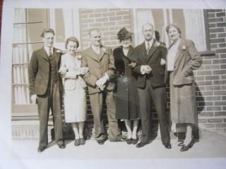 L2R. Uncle Lloyd,?,Sid Scoot mat. GF.,Phyl Gifford, Doug Gifford, Mary Scoot Mat. GM. On Doug&Phyl's wedding day. Pre war, some hair! | Mark Gifford