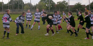 Hayley makes a break - this was to become a familiar sight on rugby grounds all over England over the next 5 years! Letchworth girls v. Milton Keynes, 10th October 2004 | Mike Alcock 2004