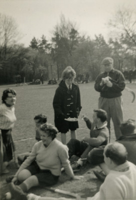 Letchworth Grammar School staff vs. pupils match, c. 1960. Pictured are Miss Carter and Miss Critchley | First Garden City Heritage Museum (not to be reproduced without permission)