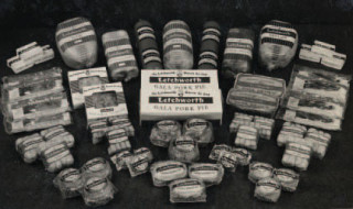A selection of meat products sold by The Letchworth Bacon Company, c. 1960s. During the Second World War, the company received supplies of livestock from the government. After the rationing period, the company formed Letchworth Livestock Limited, which allowed them to buy direct from local farms.