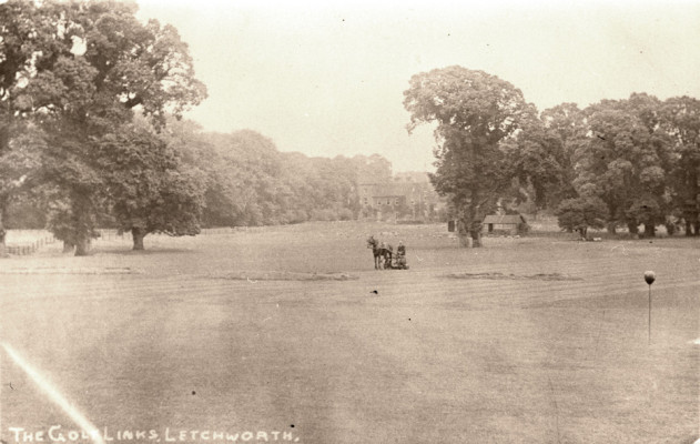View across the golf links, towards Letchworth Hall Hotel, c. 1911 | First Garden City Heritage Museum (not to be reproduced without permission)