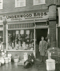 Underwoods General Ironmongers Shop, c. 1920s. This store also traded in lawn mowers, wheel barrows and grass shears.