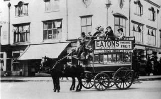 The first horse-drawn omnibus in Station Place c1911