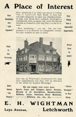 Advertisement from early Golf Club handbook | First Garden City Heritage Museum (not to be reproduced without permission)