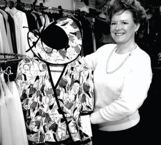 Wenda Morris in her new shop 'Wenda Fashions' on The Wynd, c. 1986.