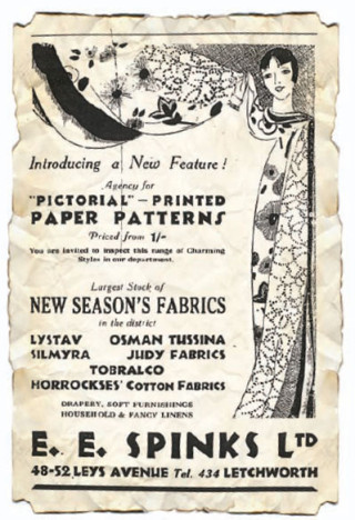 An advert for E. E. Spinks, a drapery store, (938. Barbara Barry Parker remembers