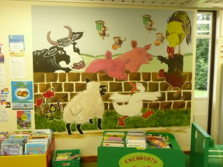 The mural in the Knebworth Library Children's Corner