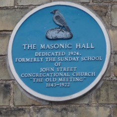 THE MASONIC HALL: This building is in Jepps Lane, a narrow alley linking the north end of Market Hill to the High Street. The Church alluded to was in John Street, running parallel to Jepps Lane and it was demolished and the site is now occupied by a closed down Turkish Café with a nightclub on the upper floors. | Tim Shepherd