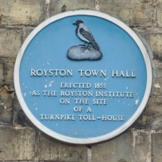 ROYSTON TOWN HALL: Originally an institute for the education in the three Rs and the trade education of young men, built in 1855 it became redundant on the introduction of universal elementary education and became the Town Hall in 1900 for the princely sum of £600. The Town Hall stood on the site of a much older tollgate and tollgate cottage which was on the Hertfordshire/Cambridgeshire border on the main road to Cambridge. | Tim Shepherd