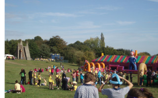 Bouncy castles at Phasels Wood Centenary Launch | by Beverley Small