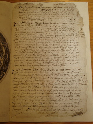 Part of the original account of one of the Earls voyages | Hertfordshire Archives and Local Studies